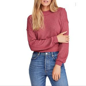 Free People Stay With Me Boat Neck Pullover XS